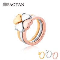 3 Piece Set Unique Design Combination Clover Women Ring Three Color Stainless Steel Heart Ring For
