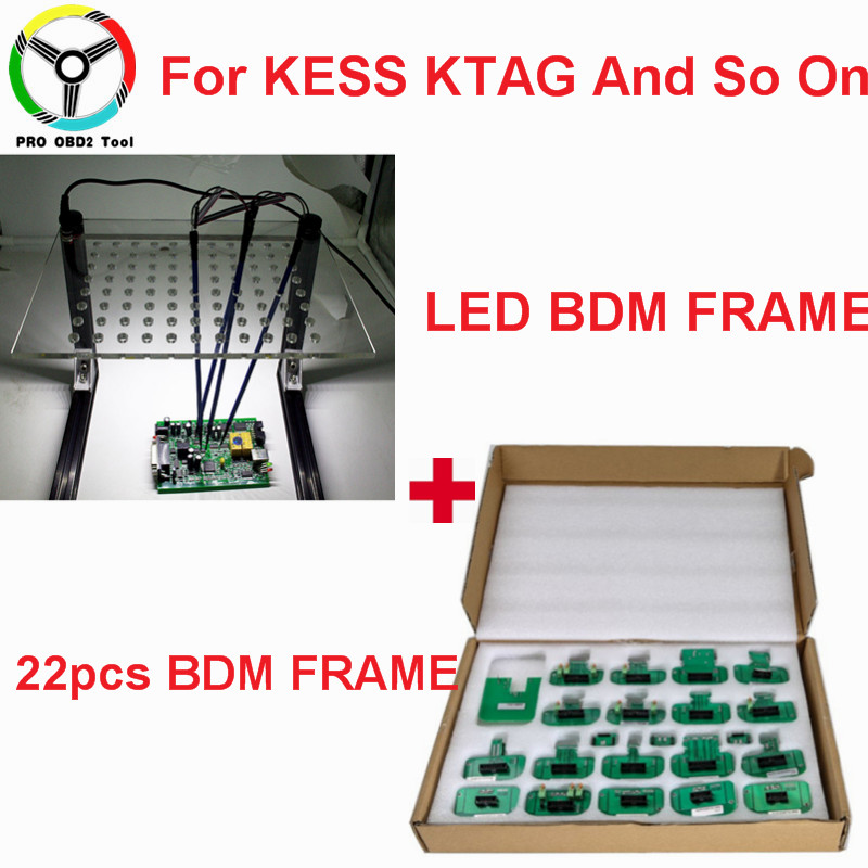 New LED BDM FRAME Full Set + 22pcs BDM Adapters Used For Auto ECU Chip Tuning Tool KTAG K-TAG KESS Fg Tech V54 BDM100 Free Ship dhl free fgtech galetto 4 master ecu chip tuning tool newest version fg tech v54 bdm tricore with compass as gift