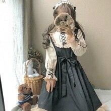 """Женское платье японского стиля""""лолита"""" весна-осень,милое женственное платье с завязчками,кавайное платье с оборками,поясом и длинным рукавом,черного цвета,стильное платье для повседневной жизни и косплея"""