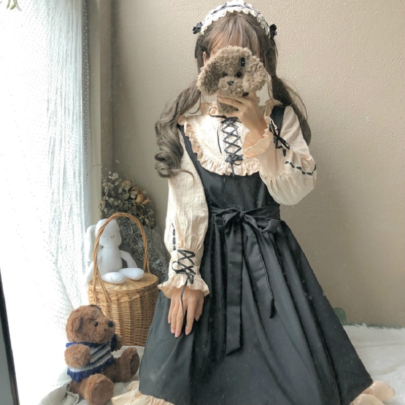 2020 Japanese Harajuku Women Lolita Style Party Dress Gothic Bandage Bow Patchwork Cute Girl Cosplay Dress Kawaii Ruffles Dress