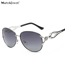 [Marte&Joven] Luxury Diamond Alloy Patchwork Sunglasses Women Hollow Temples Design Anti-Glare Travel Driving Shade Eyewear Lady
