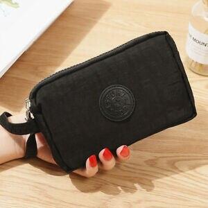 Модные Женские однотонные 3 Слои холст телефона короткий бумажник три-Слои для монет на молнии-карта для ключей - Цвет: Черный