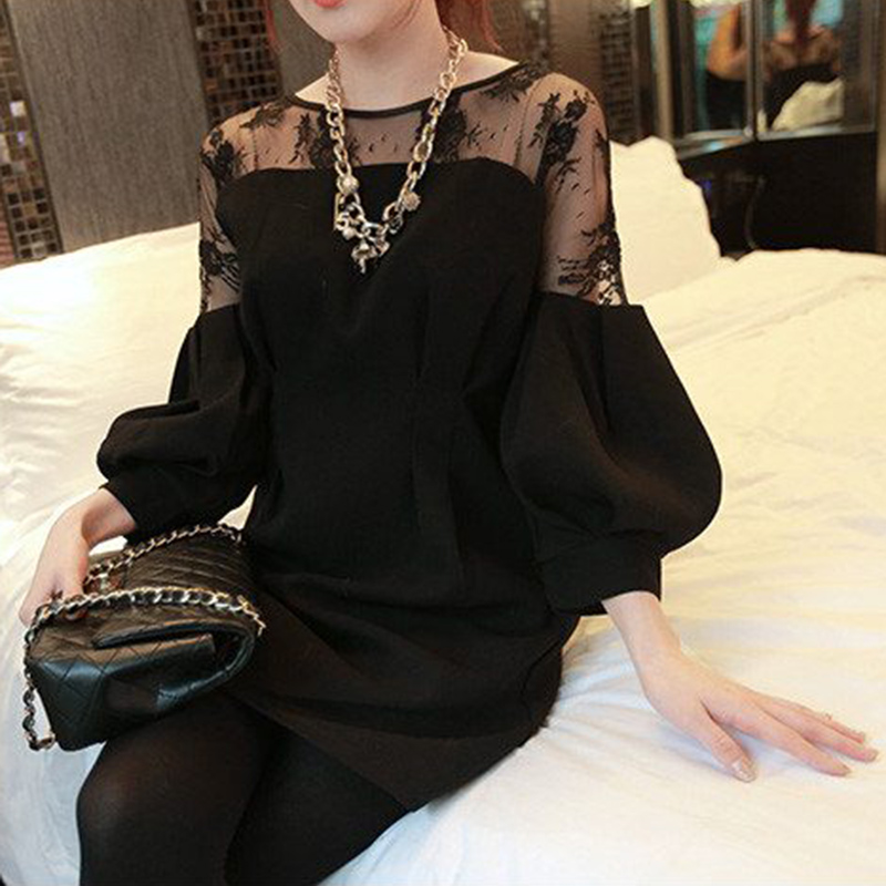 Plus Big Size Women Clothing Dress 2018 Spring Autumn Korean Vestidos Thin Lace Stitch Sexy Black White Dress Female A1506