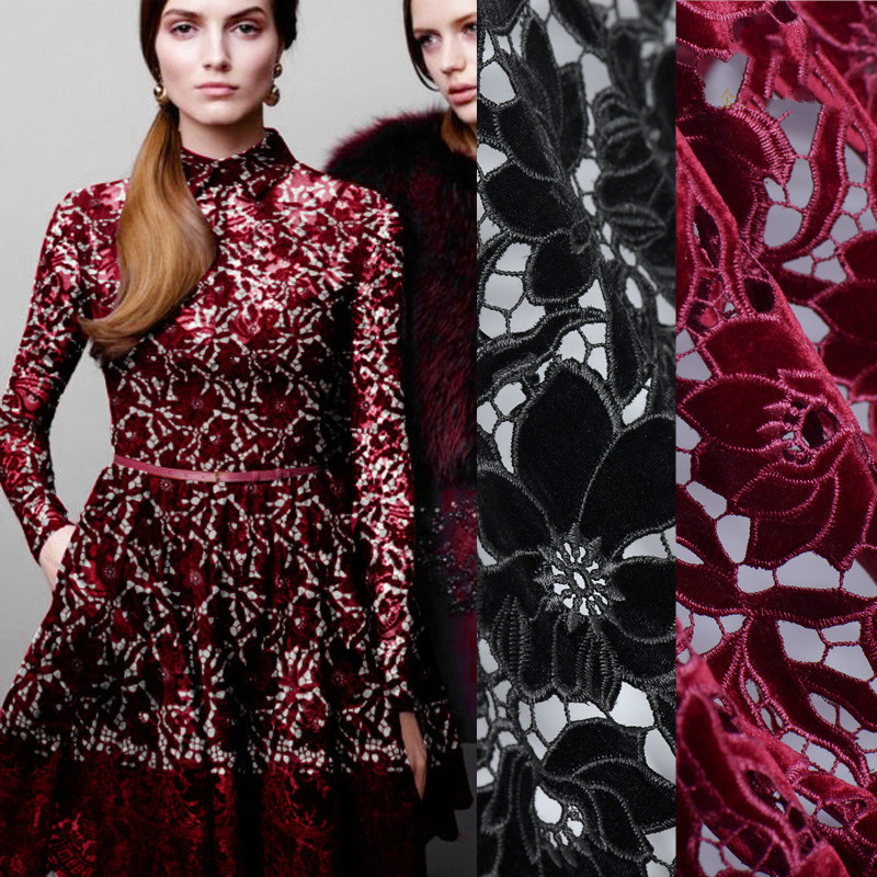 New fashion velvet water soluble lace embroidery high end custom clothing fashion fabric trendy fabric red wine black available|fabric fashion|fashion fabric|clothing fabric - title=