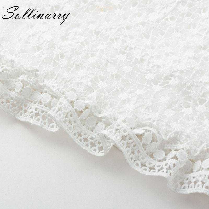 Sollinarry Hollow Out Double Layer Dress Long Sleeves White Lace Dress Women 2018 Autumn Casual Sexy Embroidery Dress Vestidos