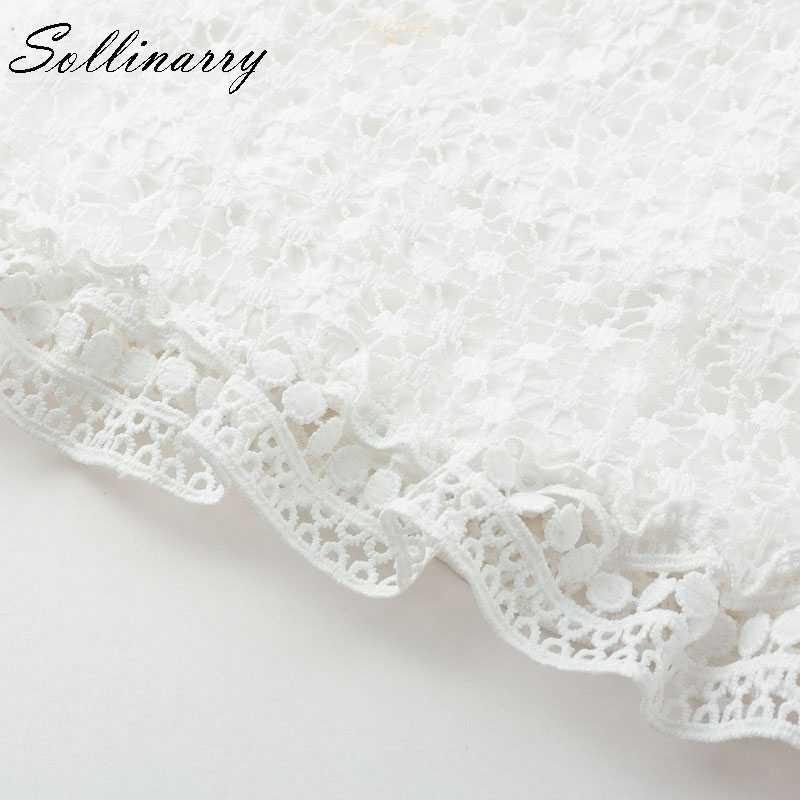 Sollinarry двухслойное платье с длинным рукавом Белое Кружевное Платье женское 2018 осень повседневное сексуальное платье с вышивкой Vestidos