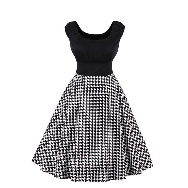 4XL plus size dress ruched chest sleeveless O neck houndstooth dress retro  vintage 50s hepburn rockabilly swing vestidos party