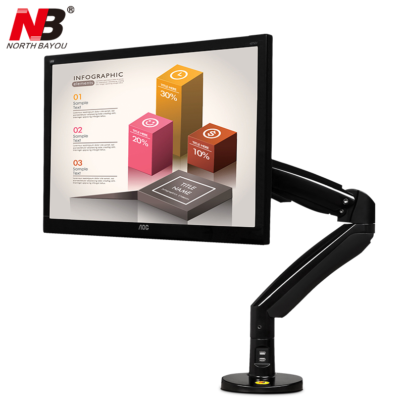 NB F100A Gas Spring Arm 22-35 Inch Screen Monitor Holder 360 Rotate Tilt Swivel Desktop Monitor Mount Arm With Two USB Ports