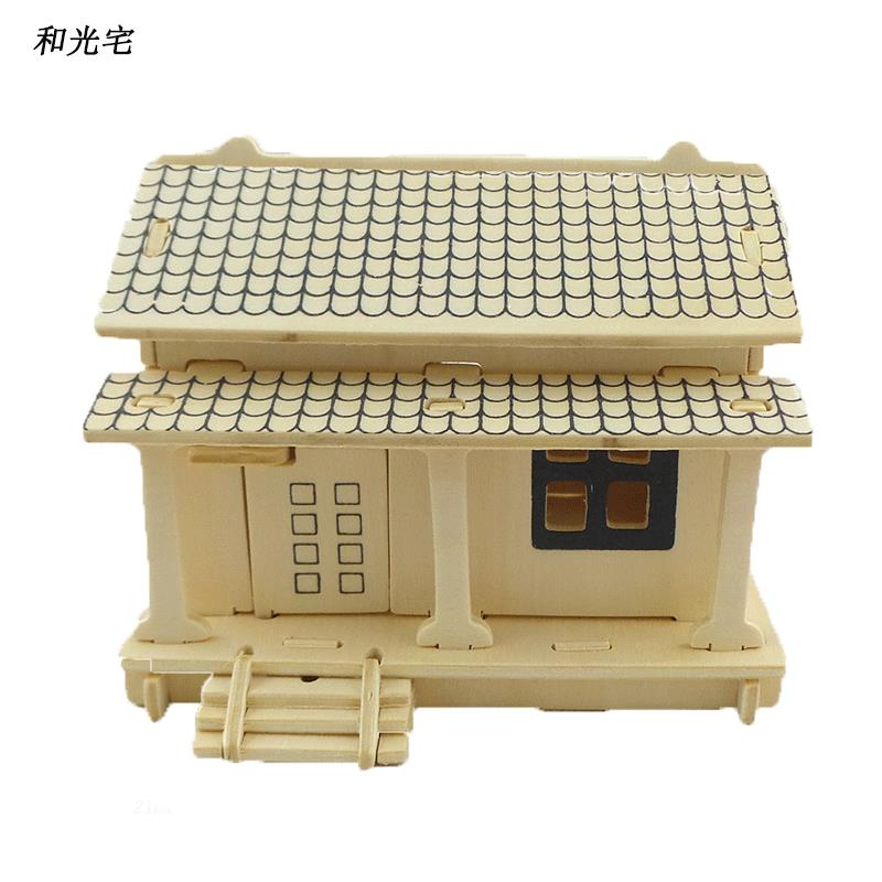 Freeshipping Wooden Scale Model DIY Toy 3D Puzzle Log Cabin ...