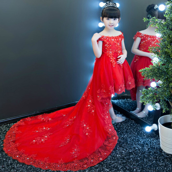 Retail 2019 New Girl Party Dress Sequins Rhinestone Princess Trailing Dress Red Wedding Birthday Dress Children Clothing 1-13T