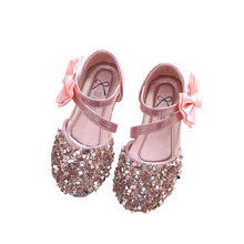 Children Baby Girls Bling flat shoes bowknot rhinestone princess Kids Shoes For party and wedding gold silver
