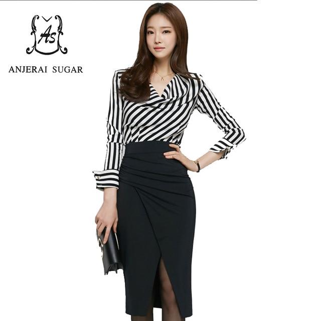 6b907ce7fe Sexy 2 piece set women crop top and skirt set Black and white stripes  Chiffon shirt black Slim package hip skirt saia e blusa