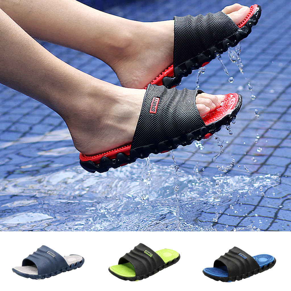 Home Sole Male Casual Soft Men's Gentleman Leisure Massage Health Wear Non-slip Beach Slippers Shoes Toe Foot Shoes