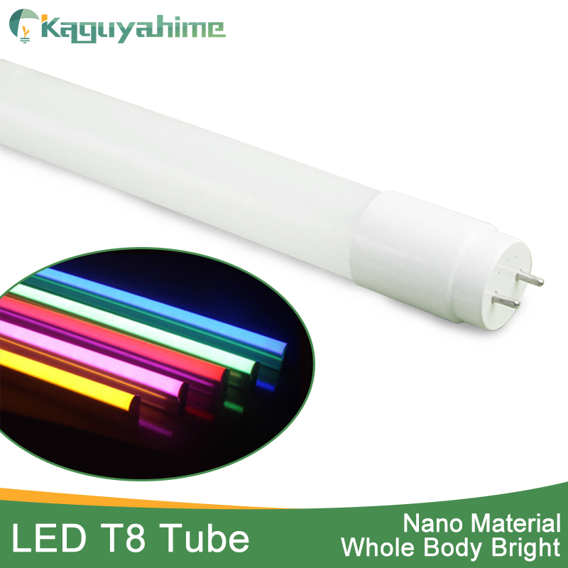 Kaguyahime RGB 360 Degrees Bright LED Tube T8 Light 220v 10w 60cm 110v 2Feet LED T8 Fluorescent Lamp T8 Tube Red Blue Pink Blue