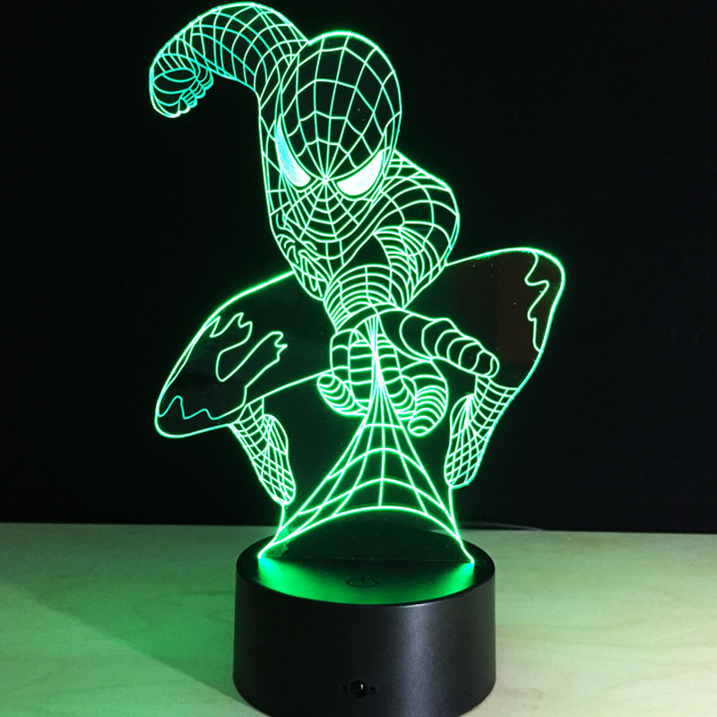 Table-Lamp-Toys Spiderman Hulk Ironman Star-Wars Action-Figures Changing-Automatically