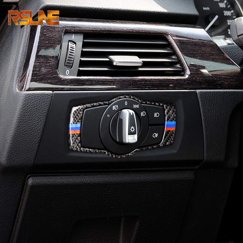 For BMW E90 E92 E93 2008-2012Interior Carbon Fiber Headlight Switch Buttons Cover Trim Car Styling Stickers 3 Series Accessories