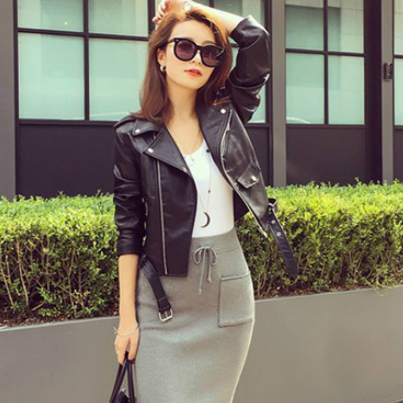 Autumn Winter Street Women's Short Washed PU   Leather   Jacket Zipper Bright Colors Ladies Basic Jackets with Belt Faux   Leather