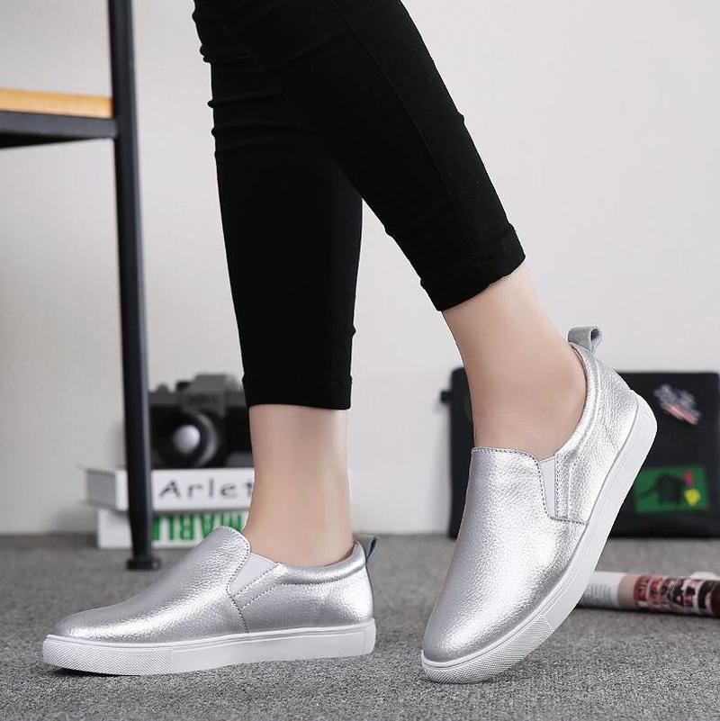 De argent Mocassins Tennis Mode 40 blanc Femme Noir Appartements Ruban Noir Pour Femmes Printemps Ballet Slip Cuir Chaussures En Blanc Sur Mj wRxIBF