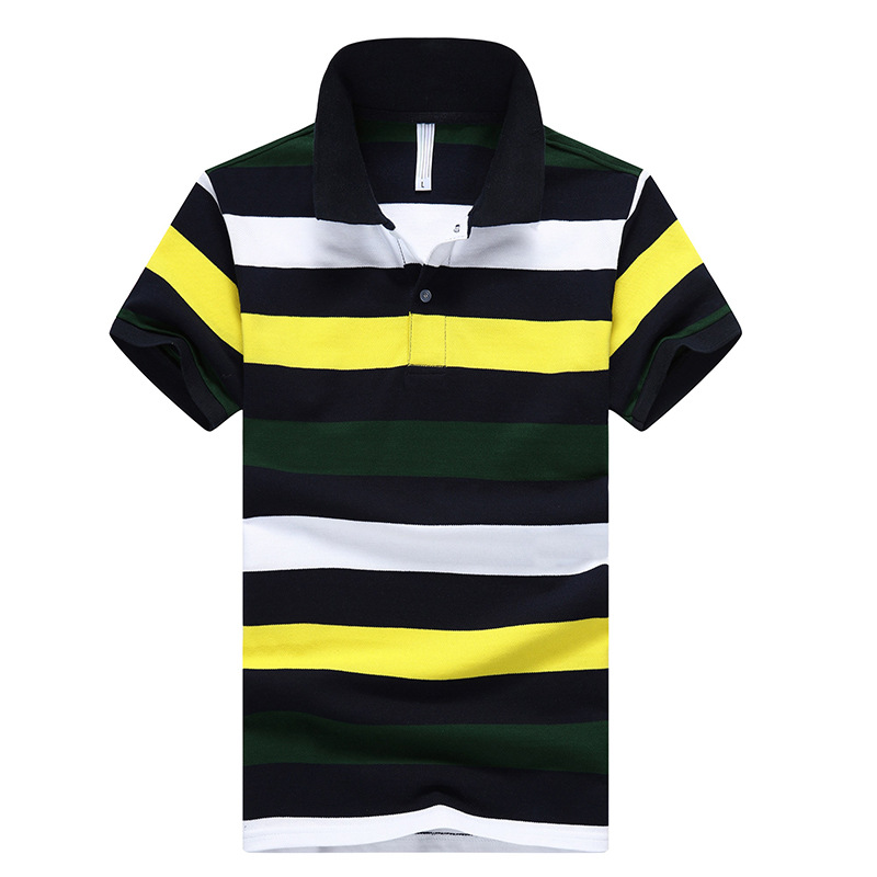 New 2018 Summer Mens Striped   POLO   Shirt Turn-down Collar Short Sleeve Plus size M-4XL