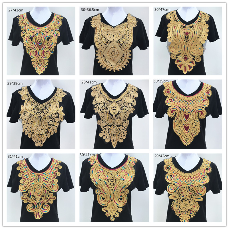 1pc Gold Embroidery Ethnic Style Collar Venise Sequin Floral Embroidered Applique Lace Neckline Collar Garment Accessories