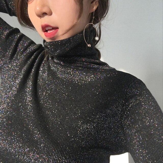 9782d7bc30 Brilhante Lurex Outono Inverno Mulheres Camisola de Gola Alta Pullover  Coreano Mulher Jumper Algodão Preto Das Tops