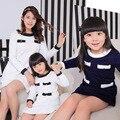 Осень синий / белый матери-дочери мода платья леди свободного покроя девушки рождество ну вечеринку платье семьи соответствующие наряды