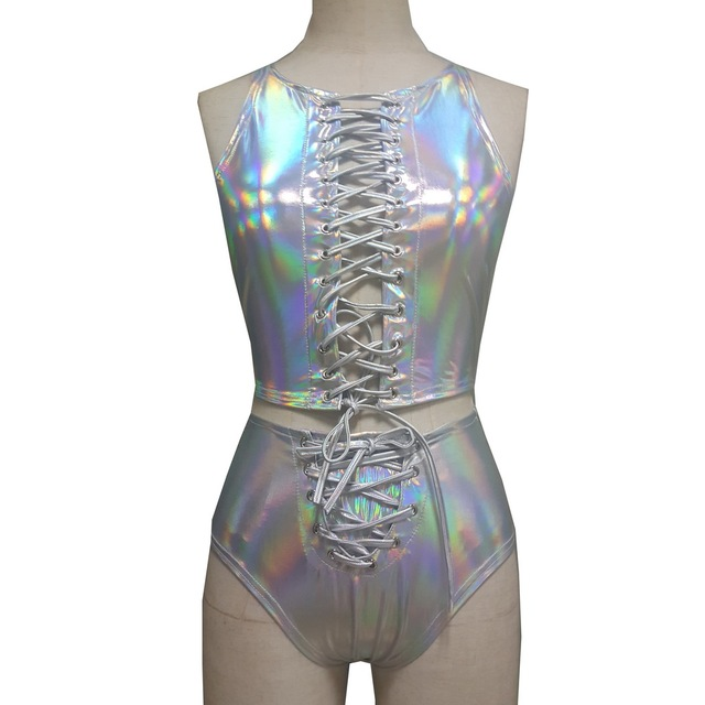cb384e1a66318 Holographic Crop Top Bottom Sets Summer Fetival Rave Clothes Wear Outfits  Gear Hologram Tank Top High Waist Shorts