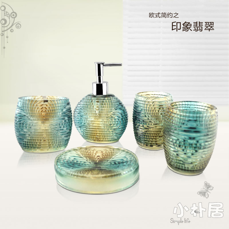 5 Pieces Bathroom Set Fashion Crystal Bathroom Accessories Sanitaryware Accessories Gift Set For New Home