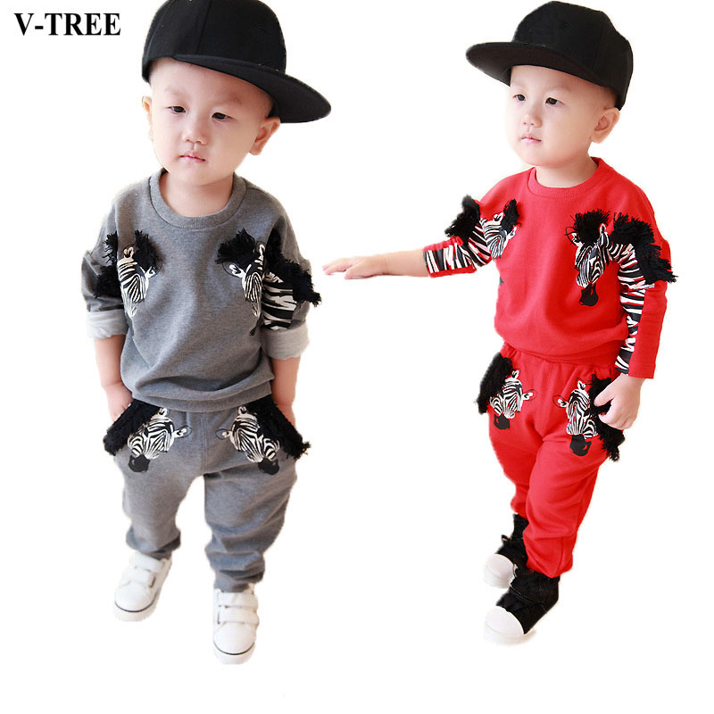 V-TREE Baby Clothing Set Spring Autumn Zebra Sport Suit For Boys&girls Cartoon Outfit Toddler Clothes Kids Boy&girl Clothing