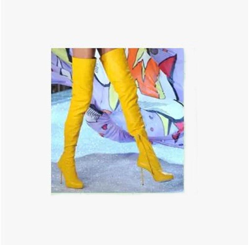 2018 Nouvelle Mode Jaune En Cuir Fermeture À Glissière Talon Cuissardes Botte Cuissarde Design Bout Pointu Botte Longue soirée Sexy Botte