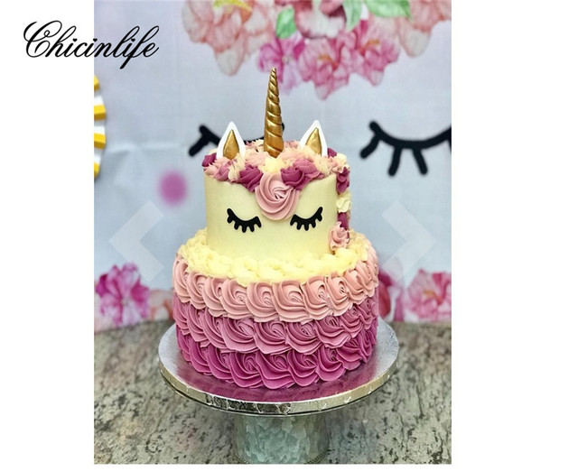 Chicinlife 1set Unicorn Cake Cupcake Toppers Horn Ears Baking Tools Decorations Baby Shower Birthday Party