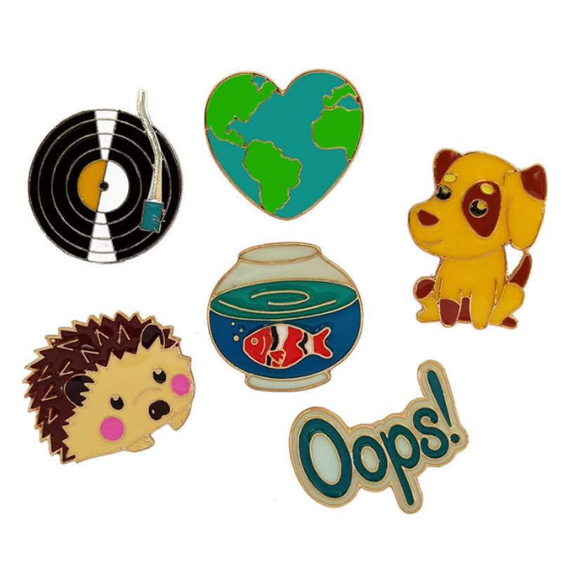 LNRRABC Mini Anjing Hedgehog Kartun Pin Badge Bros Wanita Pria Bros Pakaian Pin Dekoratif Denim Lencana Kerah Perhiasan