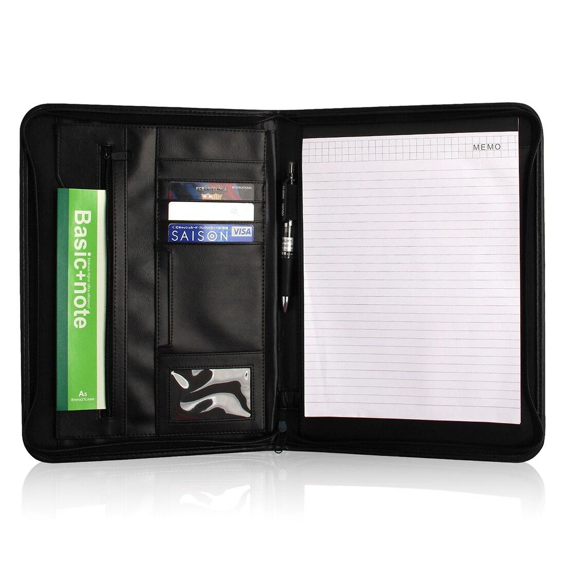 Alta qualidade moda moderna design dos homens a4 zipado multifunction pasta de reunião de negócios saco de arquivo com a4 almofada de escrita ferramenta escritório