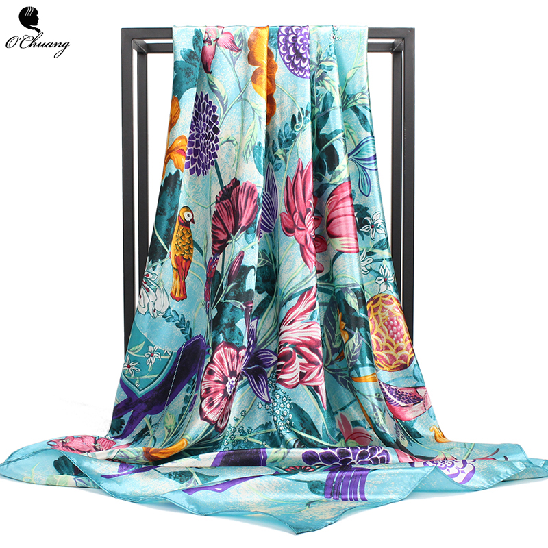 O CHUANG Silk Scarf Women Spring Summer Flowers Printe Brand Foulard Cheveux Shawl Square Head Scarves Wraps 90x90cm