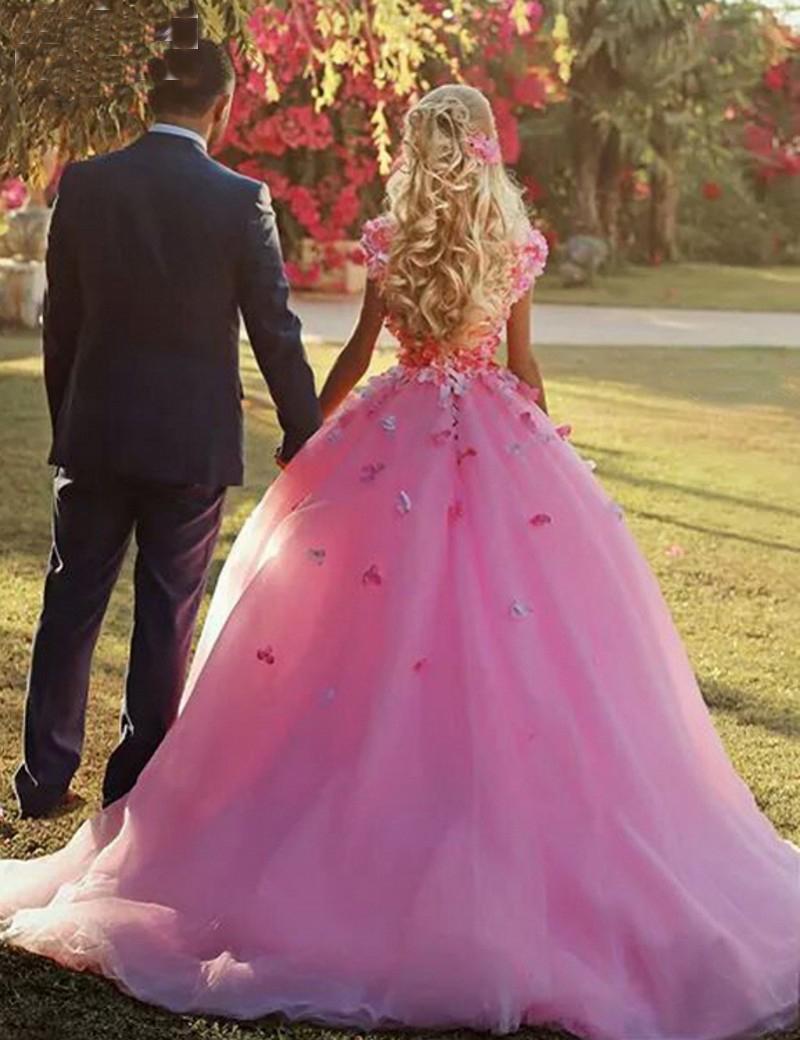 Increíble Vestido De Novia De Flores De Color Rosa Elaboración ...