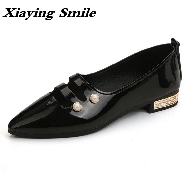Xiaying Smile Woman Flats Shoes Women Loafers Spring Summer Casual Fashion Slip On lock Rubber Hollow Pearl Flock Women Shoes xiaying smile summer new woman sandals platform women pumps buckle strap high square heel fashion casual flock lady women shoes