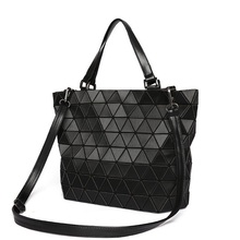 Matte Women Laser Geometry Bag Sequins Mirror Saser Plaid Folding Shoulder Bags Luminous Handbag Diamond Casual Tote Bucket Bag