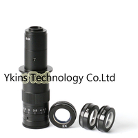 10X 180X Magnification C Mounting Lens + 0.5X 2X 0.35X Barlow Auxiliary Lens Camera Eyepiece for Industrial Microscopes