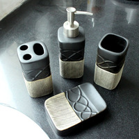 European Mellow Tone Four Piece Set Product Toothbrush Holder Soap Dispenser Soap Dish Tooth Mug Bathroom