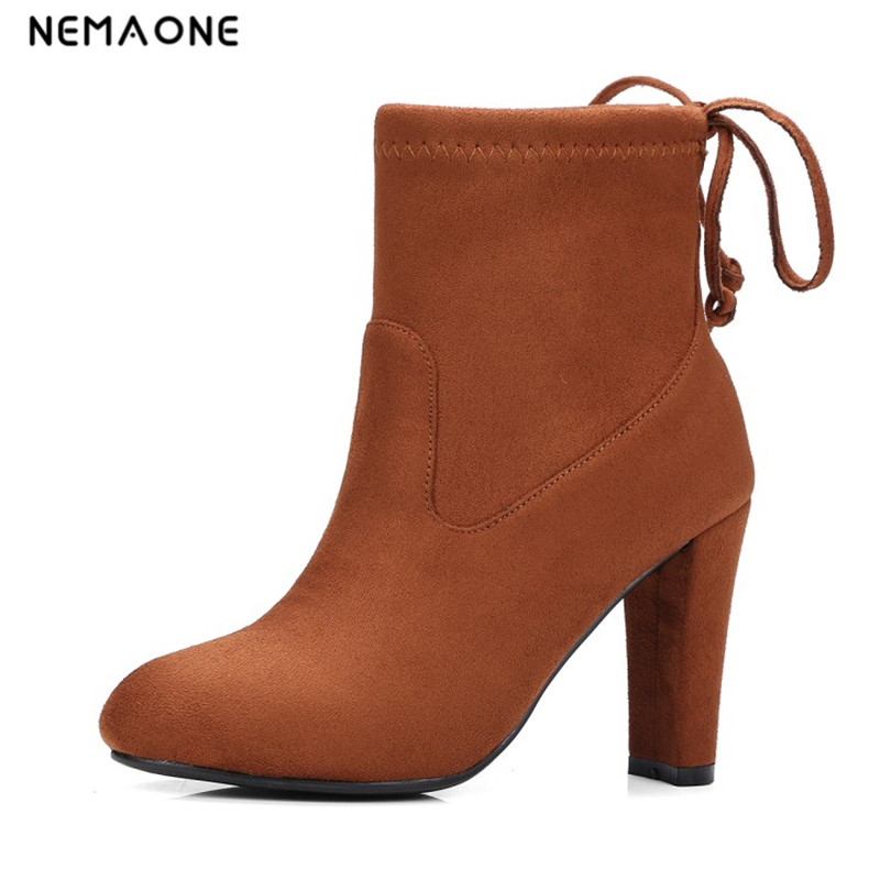 NEMAONE Womens Stretch Suede Chunky High Heel Ankle Boots Heels Fashion Back Lace Up Short Booties Black Wine Red Gray Blue 2017 fall winter blue denim short sandal boots front back lace up open toe ankle boots brown black high heel high top sandals