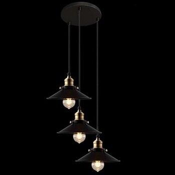 3 Lights American Retro Loft Style Vintage Industrial Pendant Lighting Lamp,Lustres De Sala Teto,E27,Bulb Included