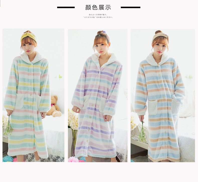 rainbow stripe autumn winter adult women girl soft flannel nightgown long sleeve sweet colorful mid - Flannel Nightgowns