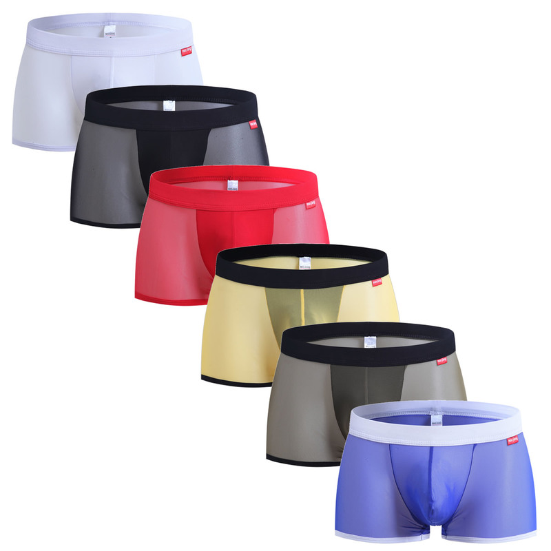 6PCS Wholesale Men Boxer Short Underwear for Men Sexy Shorts Mesh Transparent Comfy Sexy Underwear Mens Boxer Shorts Bulge Pouch