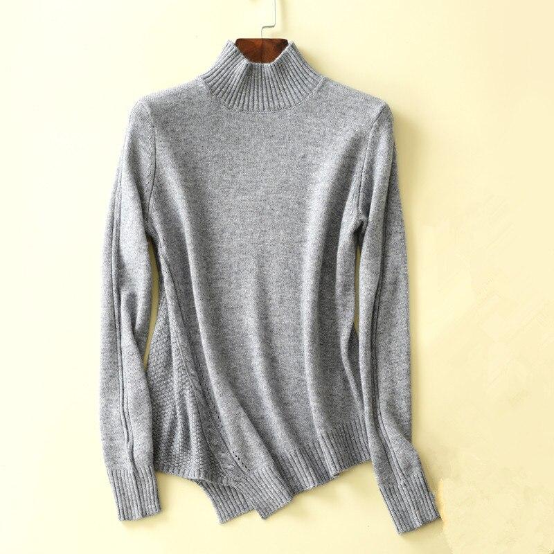 Cashmere Loose Knit Sweater Fashion Wild Short Half High cashmere sweater female irregular hem Sweater