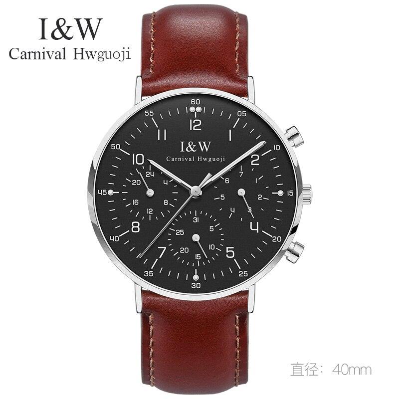 Relogio masculino CARNAVAL mode Horloge mannen Ultradunne Quartz Horloge met geïmporteerde Zwitserse beweging, Kalender, lederen band, Lichtgevende-in Quartz Horloges van Horloges op  Groep 1