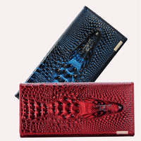 2014 New 100 Genuine Good Leather Brand Women Wallets 9 Colors Crocodile 3D Purse Wholesale Fashion