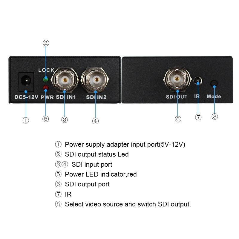 Retail SDI Switcher 2x1 HUB SDI Intelligent Switch Extender 2 To 1 Converter for 3G HD SD Monitor Security Camera CCTV Video