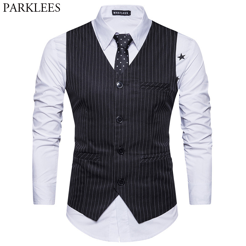 Classic V Neck Sleeveless Waistcoat Men 2018 Spring New Vertical Striped Suit Vest Mens Slim Fit Wedding Business Brand Vests