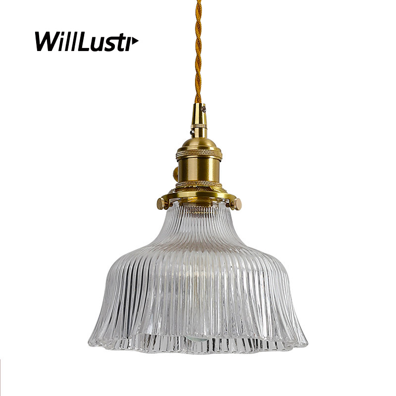 Japan Style Ruffled Skirt Ribbed Clear Glass Pendant Lamp Restaurant Hall Hotel Cafe Living Room Brass Suspension Hanging LightJapan Style Ruffled Skirt Ribbed Clear Glass Pendant Lamp Restaurant Hall Hotel Cafe Living Room Brass Suspension Hanging Light