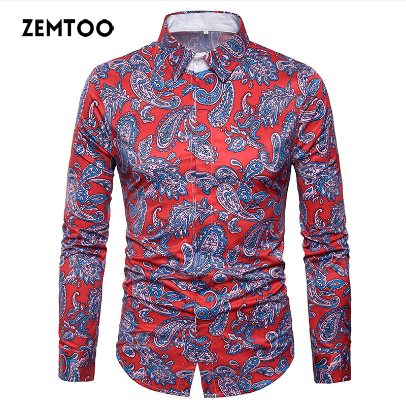 zemtoo Classic Men Dress Shirt Breathable Mens Long Sleeve Brand Clothing 2018 Retro Floral Printed Man Casual Shirt